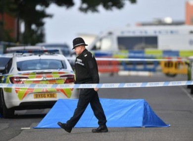 A police officer at a cordon in Irving Street in Birmingham after a number of people were stabbed in the city centre.