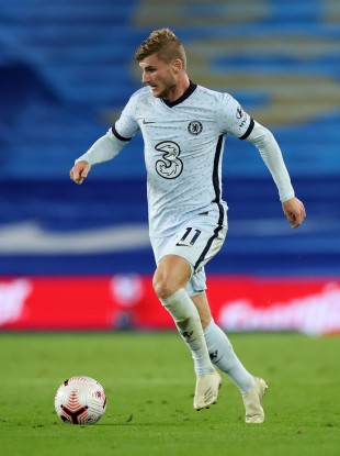 Chelsea's Timo Werner during the Premier League match at the AMEX Stadium.