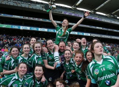 Cahir - led by Aishling Moloney (centre, with cup) - were crowned All-Ireland intermediate camogie champions in 2016.