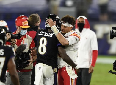 Patrick Mahomes and Lamar Jackson after their game last night.