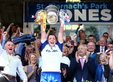 Monaghan's Conor McManus pictured lifting the Anglo-Celt Cup in Clones.