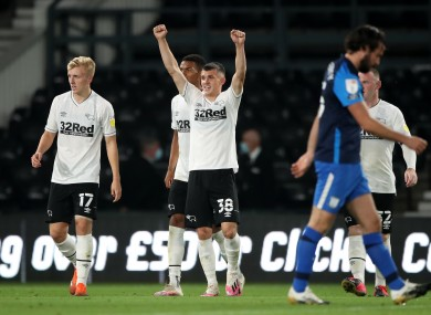 Derby County's Jason Knight celebrates scoring his side's first goal of the game during the Carabao Cup match at Pride Park, Derby.