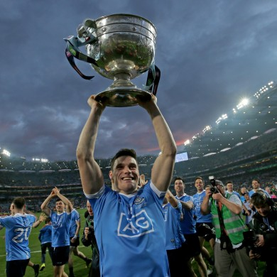 Diarmuid Connolly lifts the Sam Maguire after Dublin's triumph in 2016.