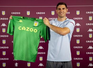 Emiliano Martinez with the Villa shirt.