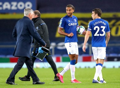 Everton's Dominic Calvert-Lewin with the match ball after his Carabao Cup hat-trick against West Ham United.