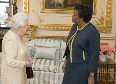 Queen Elizabeth, receiving Barbados Governor-General Dame Sandra Mason at Windsor Castle.