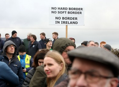 Protesters in Carrickcarnon, Co Louth at a 2019 demonstration against a post-Brexit border
