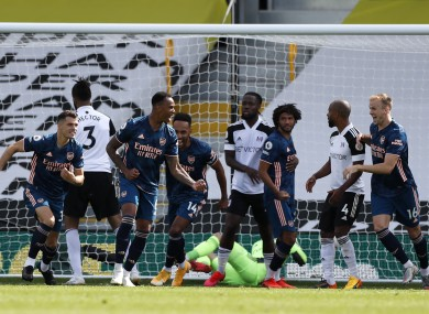 Arsenal's Gabriel (second right) celebrates scoring.