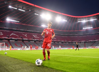 Joshua Kimmich collects a ball in the Allianz Arena during last season.
