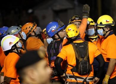 Chilean rescuers in Beirut, Lebanon.