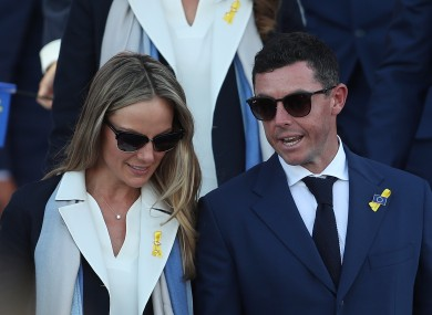 Rory McIlroy pictured with his wife Erica at the 2018 Ryder Cup.