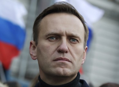Alexei Navalny taking part in a march in memory of opposition leader Boris Nemtsov in Moscow, Russia, in February 2020.