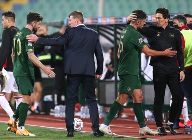 Republic of Ireland manager Stephen Kenny, Robbie Brady, John Egan and assistant manager Keith Andrews after the game.