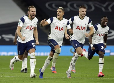 Celebrations after Spurs won the shoot-out.