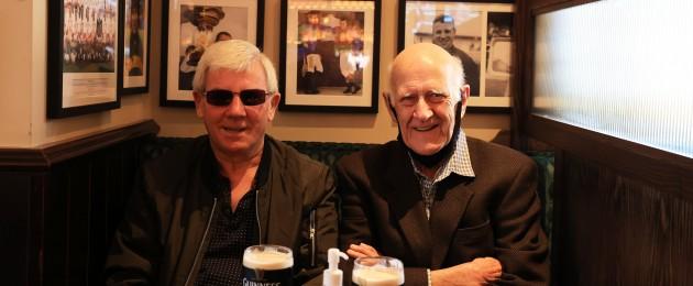 Friends Brendan Brogan and Dan Ryan, enjoy their pints in McDonnells Pub in Newbridge in Kildare as wet pubs were allowed reopen outside Dublin
