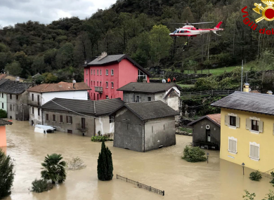 Flooding in Ornavasso in the Piedmont area of northern Italy