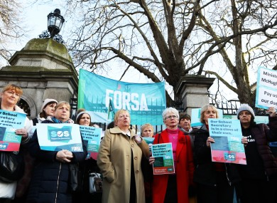 School secretaries protesting outside the Dáil in January of this year.