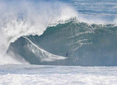 Surfers take to high waves caused by Atlantic swells in Mullaghmore in Co Sligo.