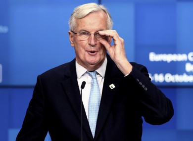 Michel Barnier speaking during a media conference at the EU summit