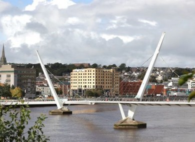 The Peace Bridge over the River Foyle in Derry.