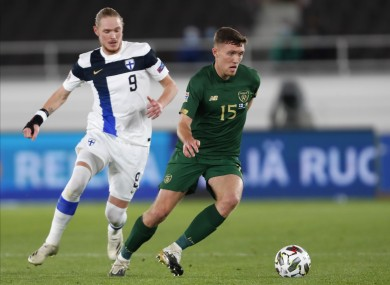 Dara O'Shea is tracked by Fredrik Jensen during the Republic of Ireland's defeat to Finland.