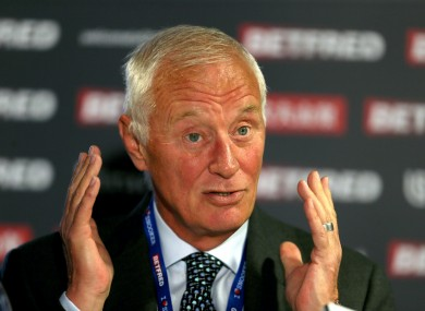 Barry Hearn has tested positive for coronavirus but is asymptomatic.