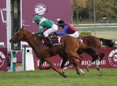 Sottsass holds off In Swoop to win the Arc.