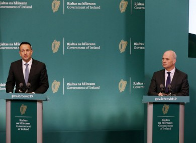 File image of Leo Varadkar and Tony Holohan speaking to press.
