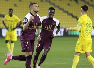 PSG's Kylian Mbappe scores his team's second goal.