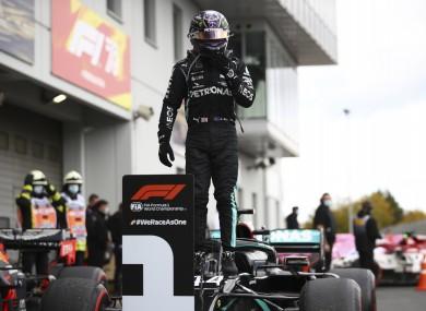 Lewis Hamilton celebrates his 91st win.
