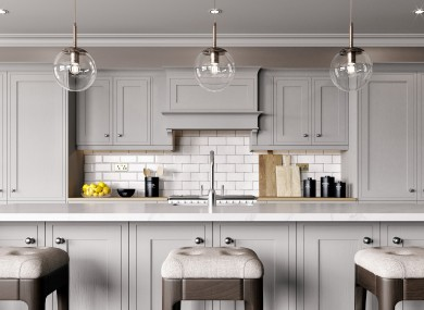 The Hampton in Oyster Grey, a classic style from from Cash & Carry Kitchens.