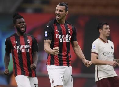 Zlatan Ibrahimovic celebrates his goal for AC Milan.