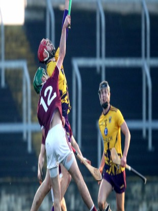 Wexford's Paudie Foley and Brian Concannon of Galway compete for possession during this year's Walsh Cup.