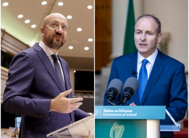 File images of Charles Michel and Micheál Martin.