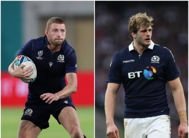 Scotland's Finn Russell and Rchie Gray.