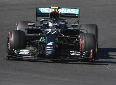 Mercedes driver Valtteri Bottas during the third practice session in Portimao.