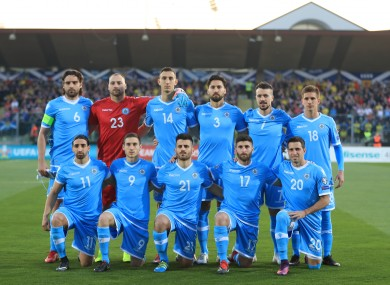 The San Marino team pictured before a European Championship qualifier against Scotland last year.