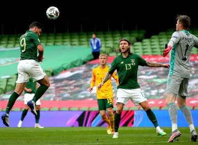 Shane Long heads over with Ireland's best chance.
