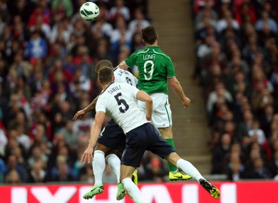 Shane Long wins a header against Gary Cahill and Glen Johnson during Ireland's last trip to Wembley seven years ago.