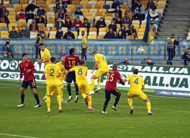 Action from Ukraine's victory over Spain in the Nations League.