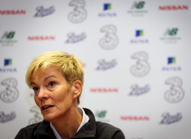 Ireland manager Vera Pauw speaking in a press conference.