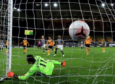Newcastle's equaliser hits the net.