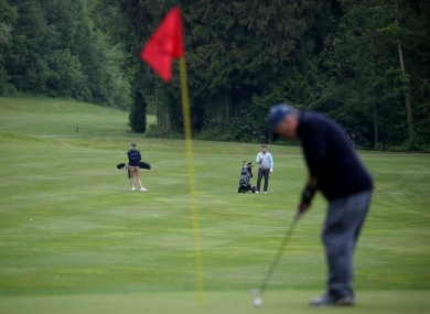 A view of members of the public playing golf at Bunclody GC while adhering to social distancing back in May.