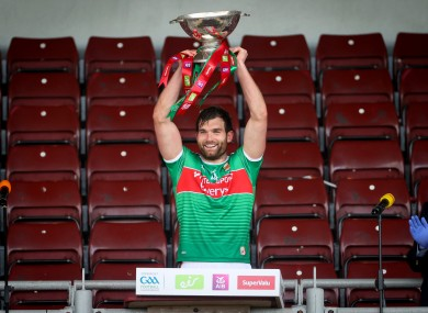 Aidan O'Shea lifts the Nestor Cup.
