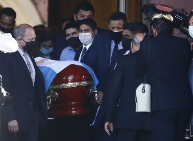 The casket of Diego Maradona.