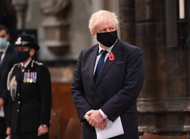 Boris Johnson at Westminster Abbey during a service to mark Armistice Day.