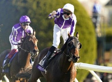 Pierre-Charles Boudot celebrates atop Order of Australia after winning the Breeders' Cup Mile at Keeneland.