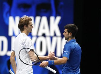 Novak Djokovic and Alexander Zverev after their match at the ATP World finals.