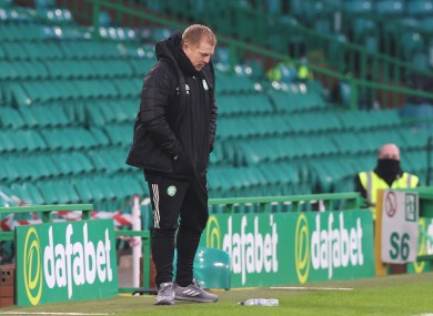 Neil Lennon reacts to Celtic's latest wretched defeat.