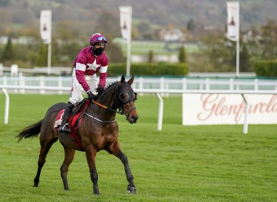 Robbie Power riding Tiger Roll after being pulled up in The Glenfarclas Cross Country Handicap Chase at Cheltenham.